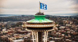 12th man flag on the Space Needle