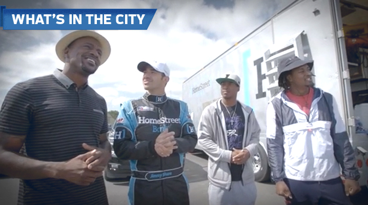 Jordan Babineaux, Tyler Lockett, and Tye Smith get a tour of the behind-the-scenes action at the Hydro Races during Sea Fair