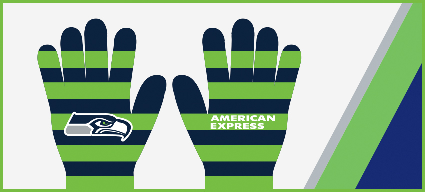 A pair of striped navy blue and green Seahawks gloves with the Seahawks hawk head logo on one side and the American Express logo on the other side