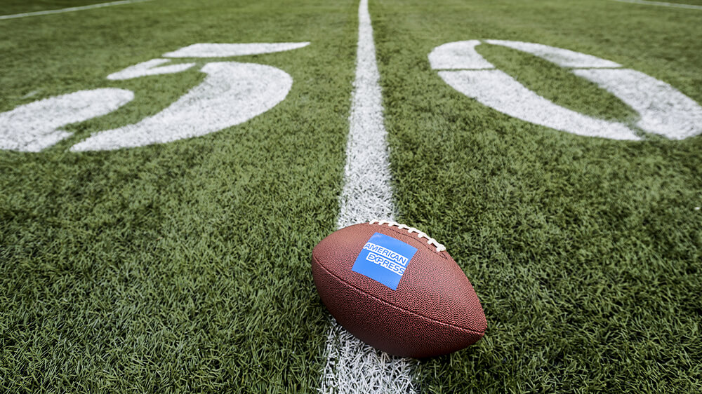 Football in the 50 yard line