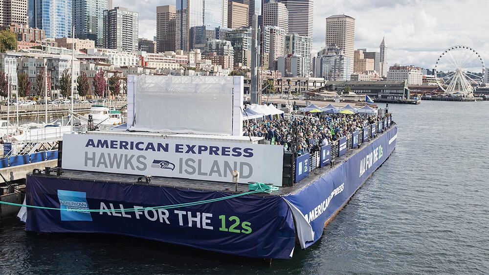 Hawks Island barge overlooking downtown Seattle